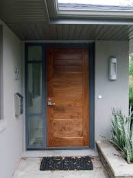 modern front doorsStunning Natural Brown Single Modern Front Door With Nickel Knob