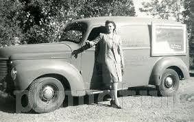 Vintage Photo Woman Delivery Truck Driver Ww2 Era White Trucks