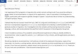 Sample Of A Recommendation Letter Letter Requesting Graduate School Recommendation Sample For Word