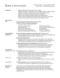 A Mechanical Engineer Resume Template Gives The Design Of The