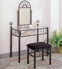 Metal Bedroom Vanity Vanities Casual Wrought Iron Vanity Set With Glass Top And Stool