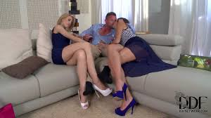Sluts with long legs in high heels share meaty knob Pornsharing