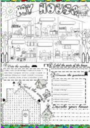 english worksheet my dream house espanol english  english worksheet my house