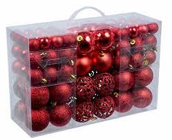 100 Weihnachtskugeln Rot Glänzend Glitzernd Matt