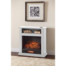 rolling mantel infrared electric fireplace in white