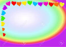 Rainbow Coloured Valentine Heart Page Border Design Stock Photo