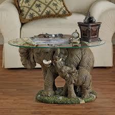 design toscano elephants majesty coffee table with glass