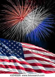 The American Flag And Fireworks Stock Photograph K5246326