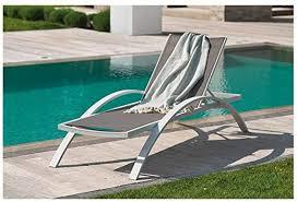 Garden <b>Sun Lounger Aluminium</b>/<b>Textilene</b> Grey Barcelona White ...