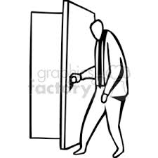 door clipart black and white. Black And White Business Man Opening A Door Clipart Y