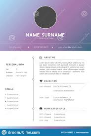 Modern Elegant Font For Resume Gradient Modern Resume Cv Design Template Stock Illustration