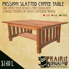Mission Style Slatted Coffee Table Mesh