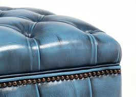 light blue ottoman. Vintage Steel Blue Chesterfield Storage Ottoman H Leather Jean Marc Fray Teal Pouf Round Upholstered Coffee Table Tufted Square Navy Oversized Denim Cube Light
