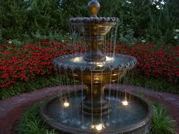 outdoor garden fountain. Kansas City Garden Fountain With Lights Outdoor