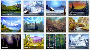 browse through this happy little database of bob ross paintings