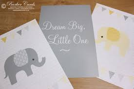 yellow elephant wall prints for baby s nursery kids or children s bedrooms new baby gift