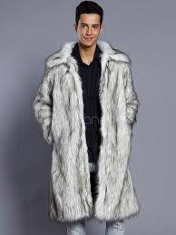 faux fur coat white long sleeve turndown collar men winter coat no 1