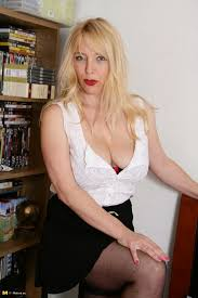 Mature Old Shaved Blonde MILF Lucy Gresty with Big Naturals.