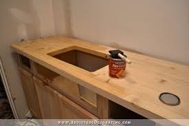 sealed wood countertops diy butcherblock style countertop pre stain conditioner used before staining the wood what