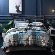 blue and brown duvet cover cotton soft bed set king queen plaid stripe bedding set blue green brown duvet cover blue and brown quilt cover