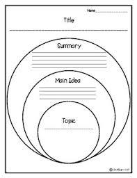 Topic Main Idea And Summary Organizer Freebie Literature