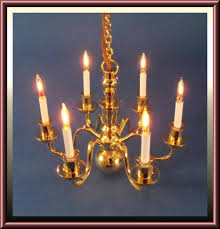 dollhouse six arm williamsburg style brass chandelier