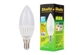 <b>Лампа светодиодная свеча SHOLTZ</b>, керамика, 11Вт E14 2700К ...