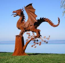 huge dragon sculpture with wings on