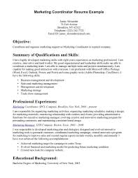 Marketing Assistant Resume Coordinator Pertaining To Sample For