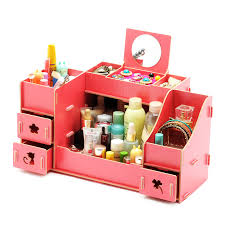 Creative Diy Wooden <b>Cosmetic Storage</b> box <b>Multi</b> function ...