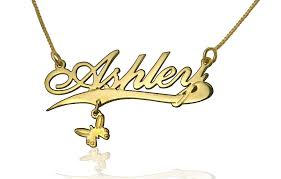 18k yellow gold plated erfly pendant name necklace design