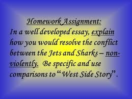 characters songs setting plot leonard bernstein theme homework assignment in a well developed essay explain how you would resolve the conflict