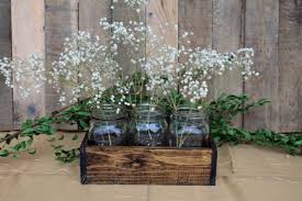 Glass Jar Table Decorations Wood Crate Centerpiece Wedding Centerpiece Wood Crate With Mason 23