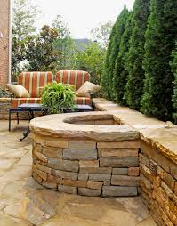 Stacked Stone Fire Pit half circle stacked stone firepit with attached seating wall 6150 by uwakikaiketsu.us