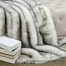 gray faux fur throw.  Throw Sumptuous Luxury Faux Fur Throw Blanket  Designer Quality Accents  Made In America Throughout Gray