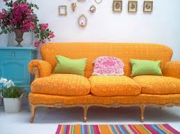 Orange And Blue Living Room Decor Living Room Yellow Orange Moroccan Pattern Sofa With Colorful