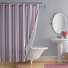 beautiful shower curtain with purple vertical strip patterns ...