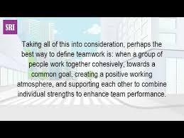 Describe Teamwork How Would You Describe The Teamwork Youtube