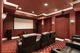 Interior:Interesting Theater Room Design With Red Cherry Color Theme And  White Ceiling Lighting Ideas