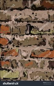 abstract digital art painting of old brick wall
