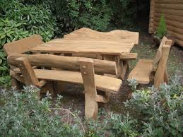 rustic wood patio furniture. Excellent Backyard With Rustic Outdoor Furniture Of Wooden Rectangle Table Also Four Benches Wood Patio U