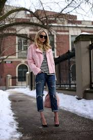 make a pink motorcycle jacket and navy distressed boyfriend jeans your outfit choice for comfort dressing