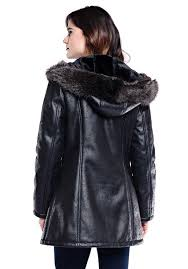 black faux leather fur mid length hooded coat