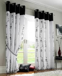 Tahiti Black White Voile Lined Ring Top Eyelet Curtains curtains Black And White  Curtains