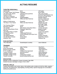 Theatre Resume Example