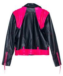 misfit black and pick lambskin leather jacket