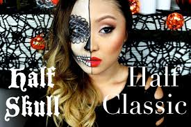 day of the dead half face makeup half sugar skull half clic makeup tutorial you
