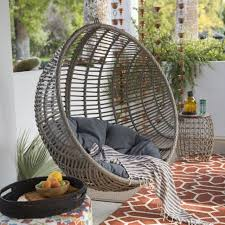 egg shape chair hanging resin wicker tufted cushion stand porch swing patio gray