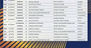Ipl 2019 Schedule Time Table Vivo Ipl 2019 Full Fixtures