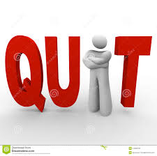 quit word computer keyboard key button impulse career job change quit man in word stock photo